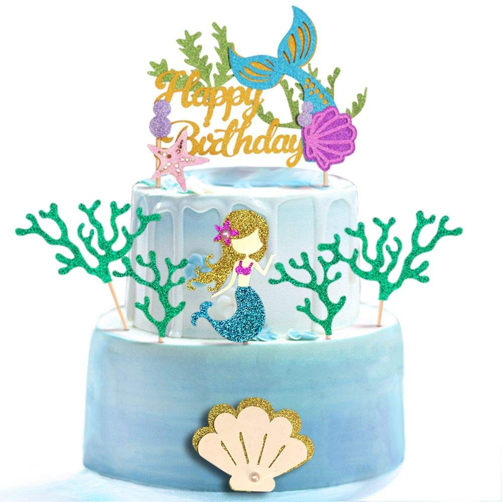 Glitter Mermaid Theme Birthday Cake Topper with Seaweed and Mermaid, Cake Cupcake Toppers for Girls Mermaid Themed Birthday Cake Party Decorations. (White)