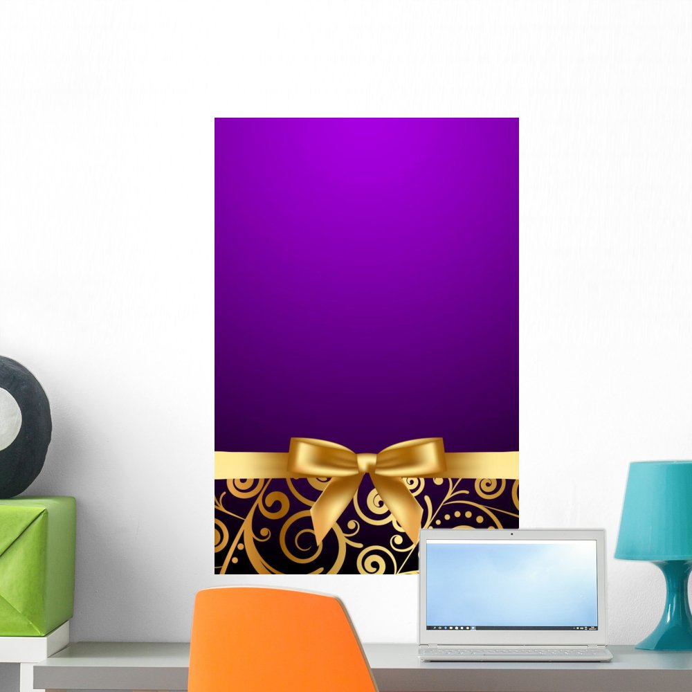 Wallmonkeys Vector Purple and Luxury Frame with Gold Ribbon Wall Decal Peel and Stick Graphic WM238529 (24 in H x 16 in W)
