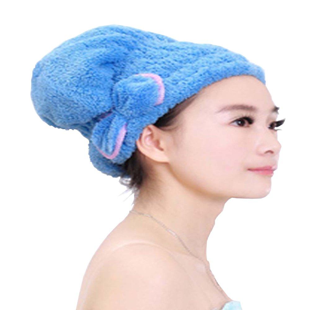 KaLaiXing Hair Drying Towel, Women Lady Girls Long Hair Magic Drying Towel Hat Cap Quick Dry Turban for Bath Shower Pool-Blue