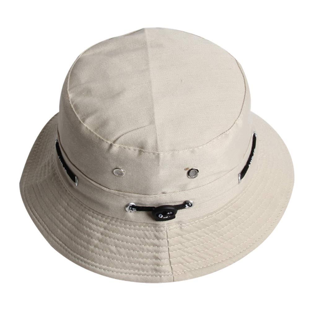 Ruikey Chapeau de Pêcheur Double Face Pliable,Casquette de Soleil Réglable avec Cordon,Casquette Visière pour Voyager