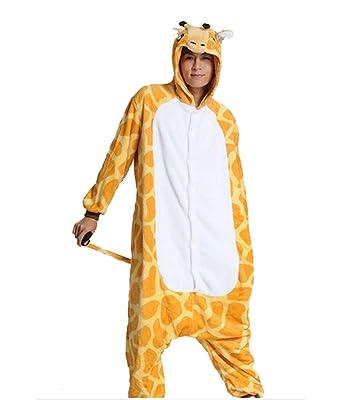8048dbe8f5ec Warm Onesie Pajamas Adult Unisex One Piece Pajamas Casual Tracksuit Cosplay  Animal Pajamas Giraffe (S