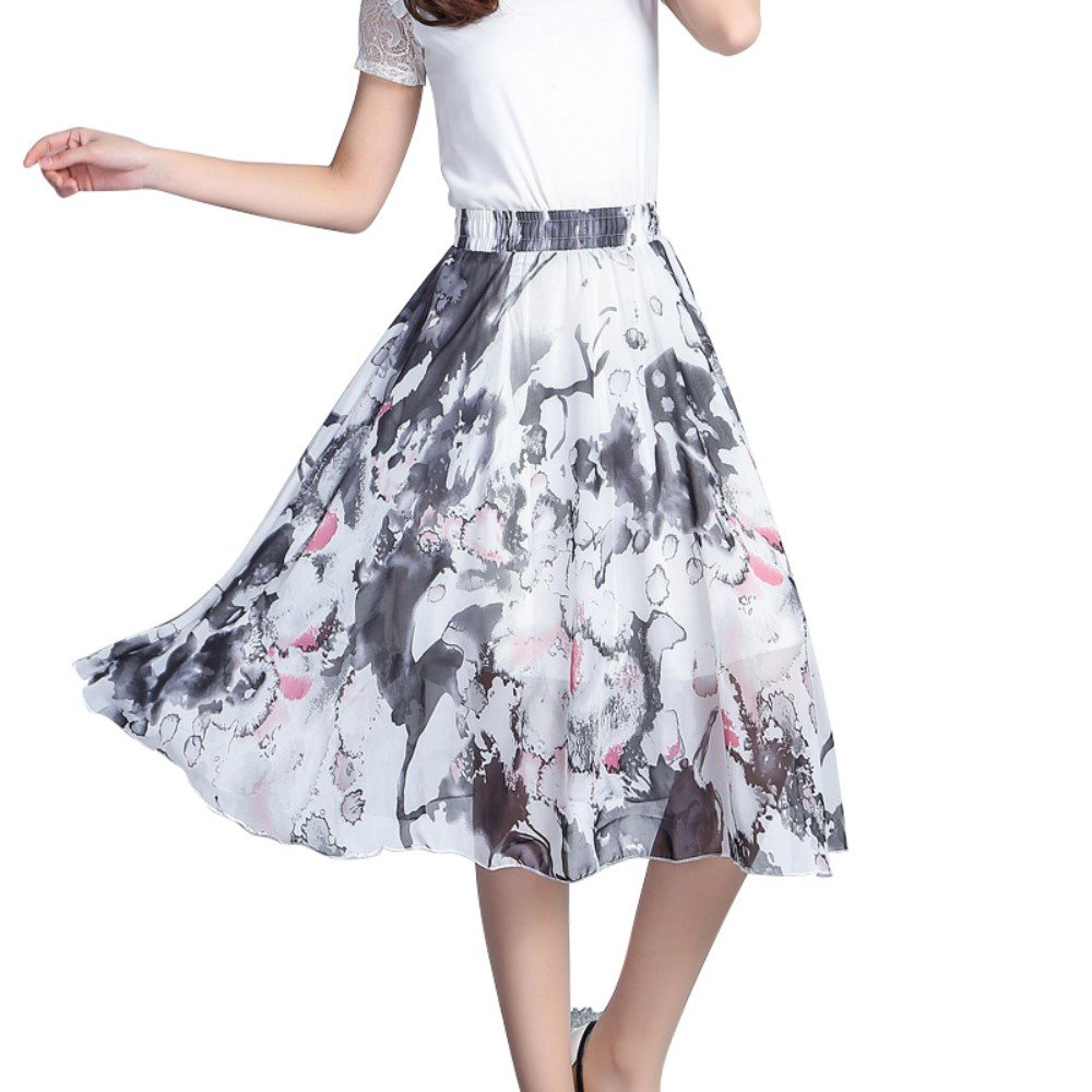 262a0df3ea *Features:Elastic high waist ,classic print swing skirt,A-line pleated  pattern Knee Length *Easy Hand Wash or Machine Washable in Cold Water
