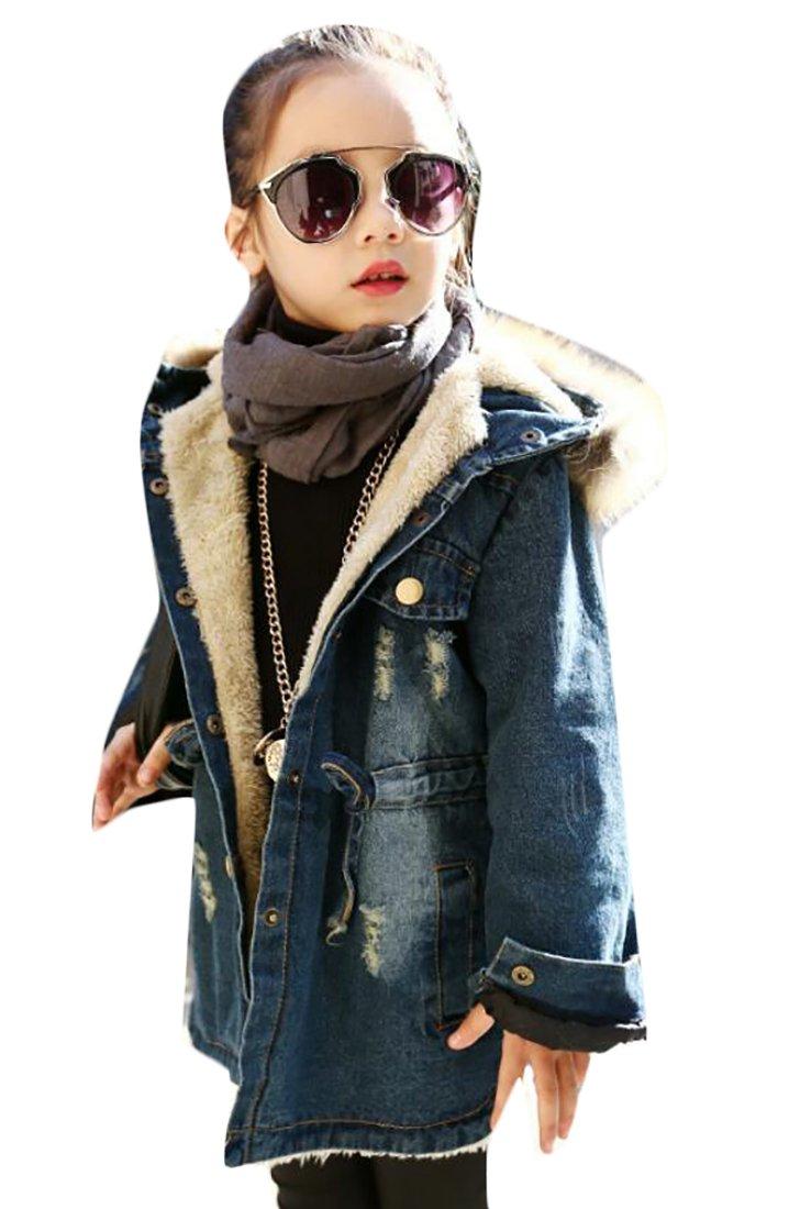 Esast Little Girls Winter Lapel Thick Warm Slim Fit Faux Fur Denim Jacket
