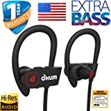 OHUMLABS Sports Waterproof Wireless Bluetooth Earphones with pouch case ,headset,hands free Stereo Sound Hands-Free Mic Extra Bass ear phones for mobile Large battery (Black)