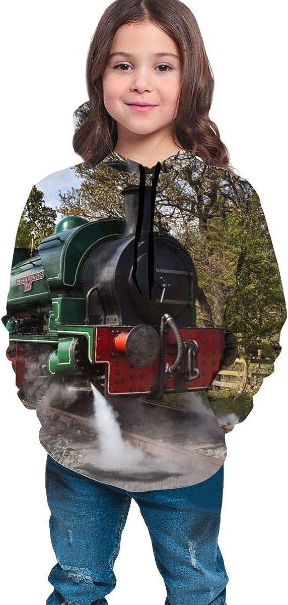Steam Train Realistic 3D Digital Printed Pullover Tops for Boys Girls 7-20 Years Youth Hoodie Sweatshirt