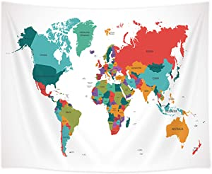 Shocur World Map Tapestry, Colorful Map Country Name, Home Decor Wall Hanging Art, Pretty Living Room and Bedroom Design, 51 X 59 Inches with Pins