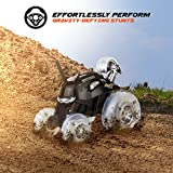 Remote Control Car SHARPER IMAGE RC Cars Toys for Boys and Girls, Thunder Tumbler Race Monster Truck, Best Kids Gifts Spinning 360 Multi-Player, Power Racing Flips and Stunts w/ 5th Wheel, 49MHz BLACK