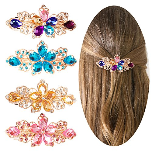 Jaciya 4 Pack Crystal Hair Barrette Mothers Day Gift Rhinestone Hair Clips French Barrette Flower Style Hair Pin Barrettes Spring Clip for Women Girl, 4 Colors