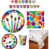 Art Party Supply Pack - includes Dinner and Dessert Plates, Cups, Napkins, Tablecover and Banner (16 Guests)