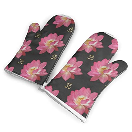 Amazoncom Lotus Flower Oven Mitts Cooking Gloves 480 F Heat