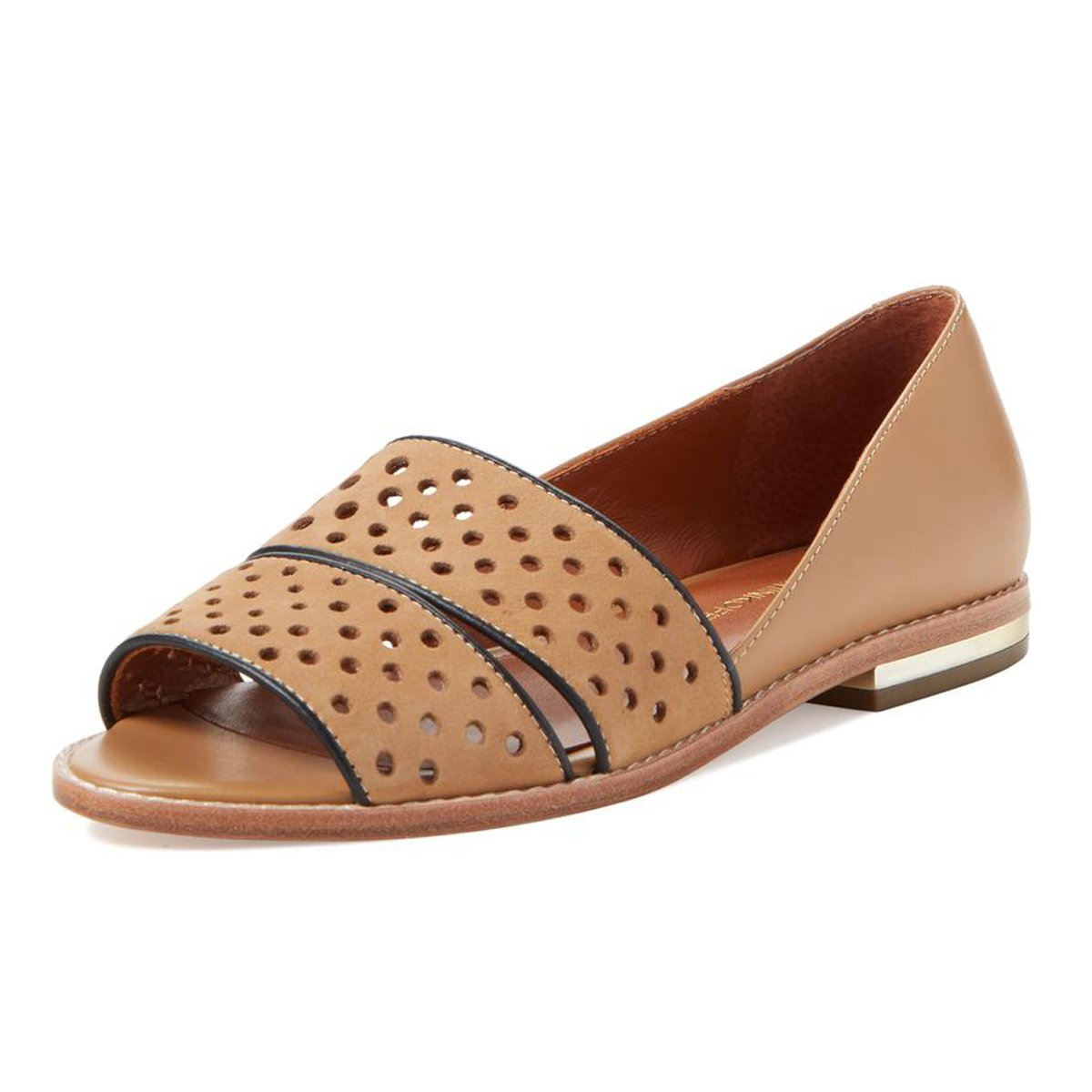 Rebecca Minkoff Women's Sadie Perforated Leather Flats US 7.5 Tan