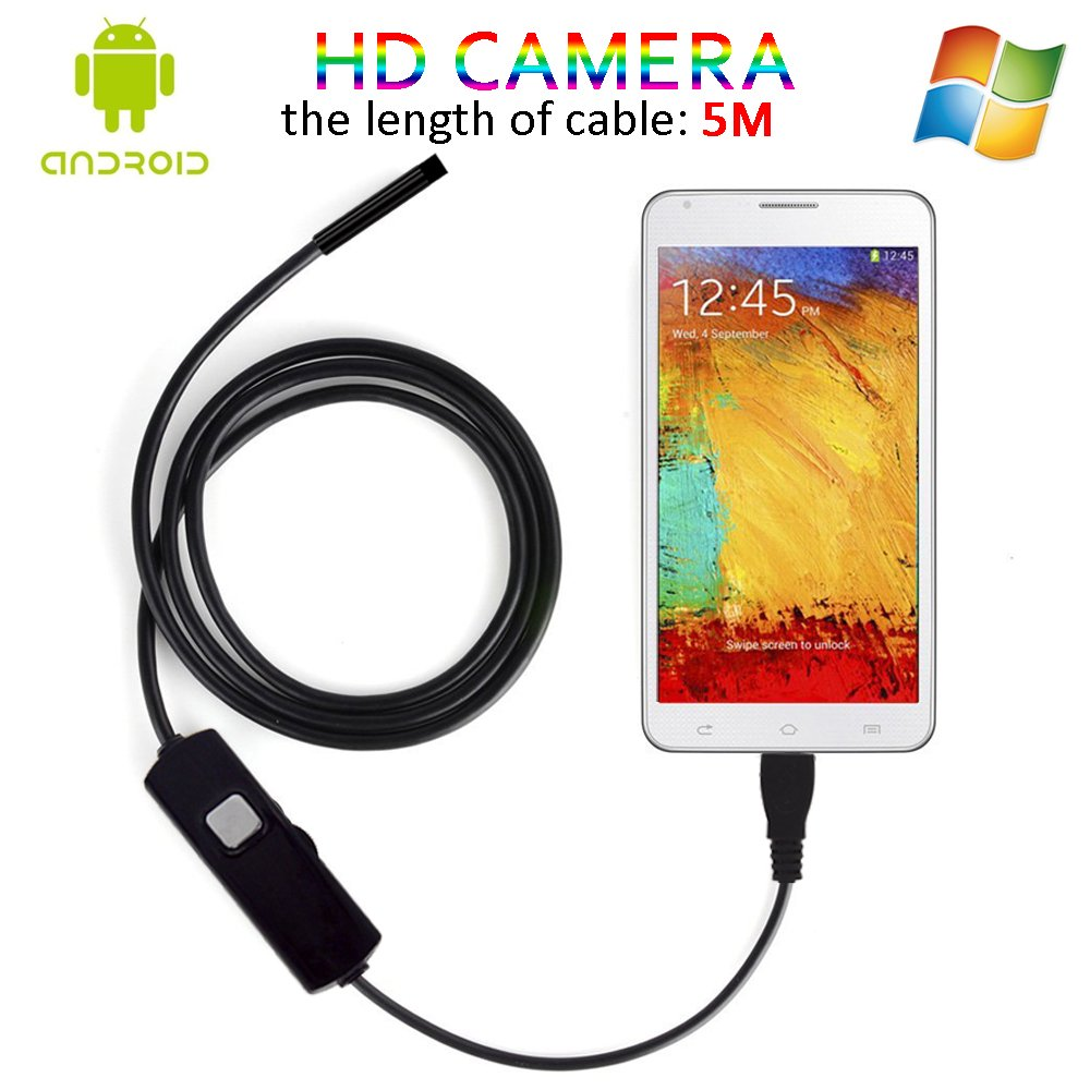 2 In 1 Android OTG Endoscope, 5M USB Borescope Waterproof Inspecting Snake Tube Camera Microscope With Kits (5.5mm)