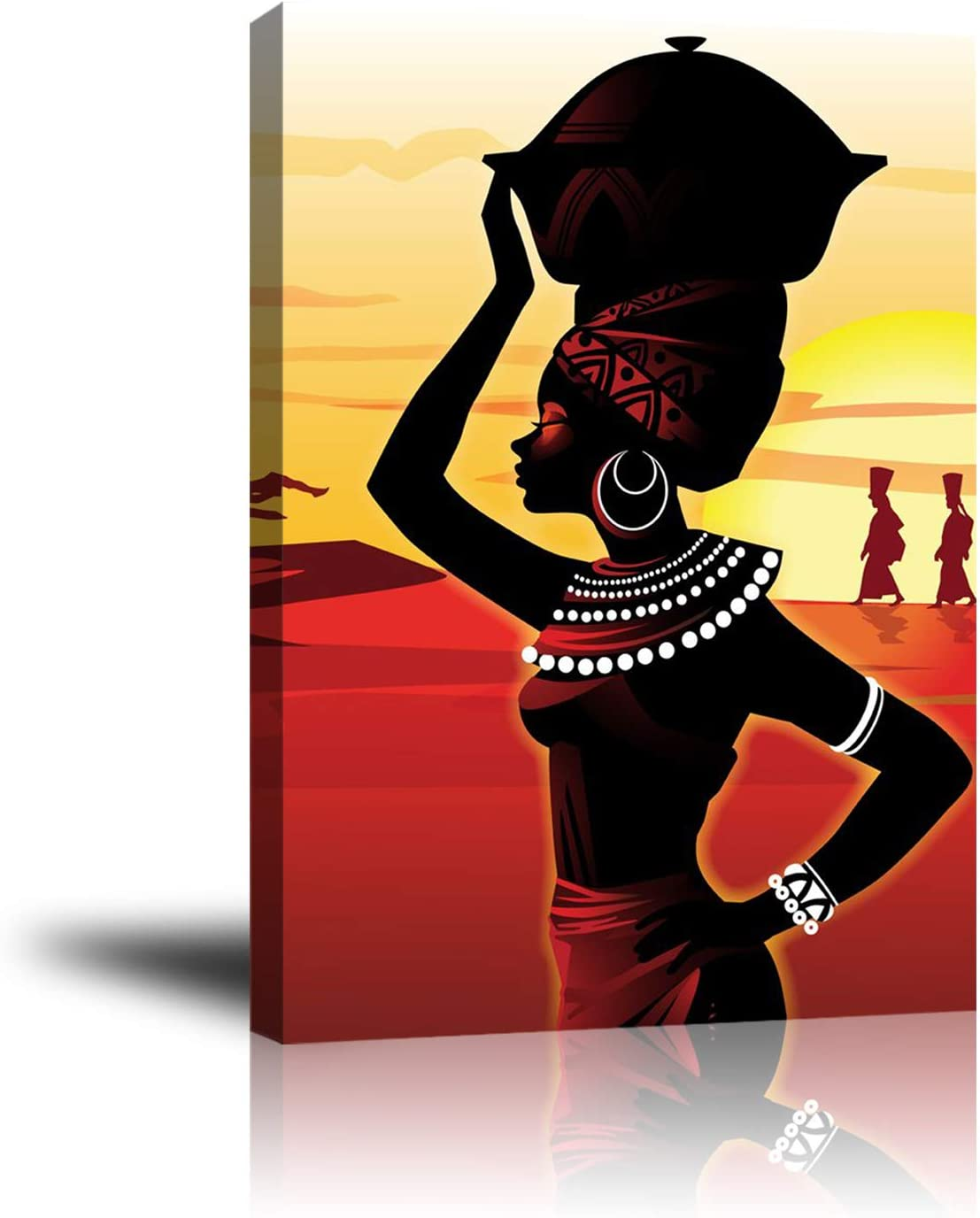 """Premium Canvas Wall Art, Prints African Woman Decor Photo Paintings, Decorative Artwork for Bedroom Home Office Framed Ready to Hang 16""""x 20"""""""