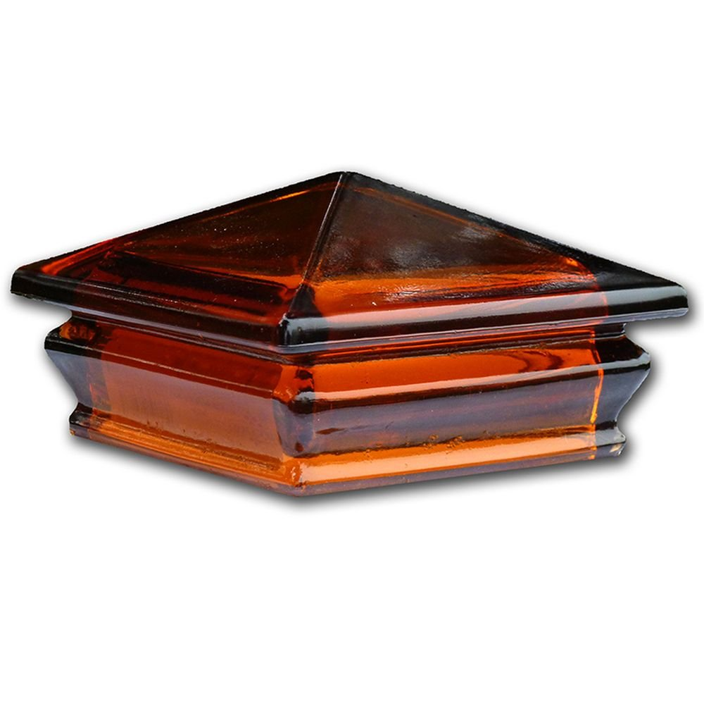 Woodway Glass Post Cap 4 x 4 – Outdoor Pyramid Post Cap for Garden, Deck and Patio, Amber, 1PC