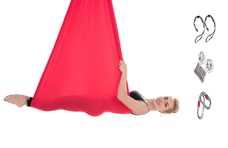 Tofern 1 Kit de Yoga Hamac Parachute Fly Balançoire 5 M x 2.8 M Crochet Mousqueton Plafond Anti-gravité Aérien Daisy Chain Suspendu Robuste Nylon Charge 900kg Danse Fitness Orange 5x2.8m