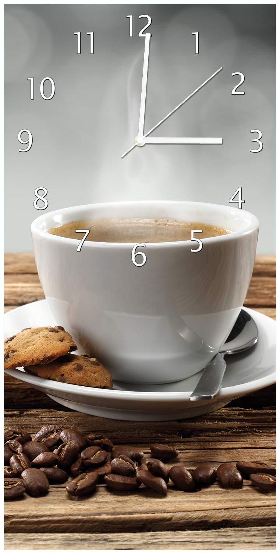 Wallario Design Wanduhr Heiße Tasse Kaffee mit Kaffeebohnen aus Acrylglas, Größe 30 x 60 cm, weiße Zeiger