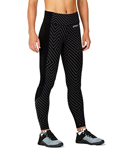 85716f9630 2XU Women's Fitness Compression Tights w/Storage, Black Phantom Maze/Black,  X