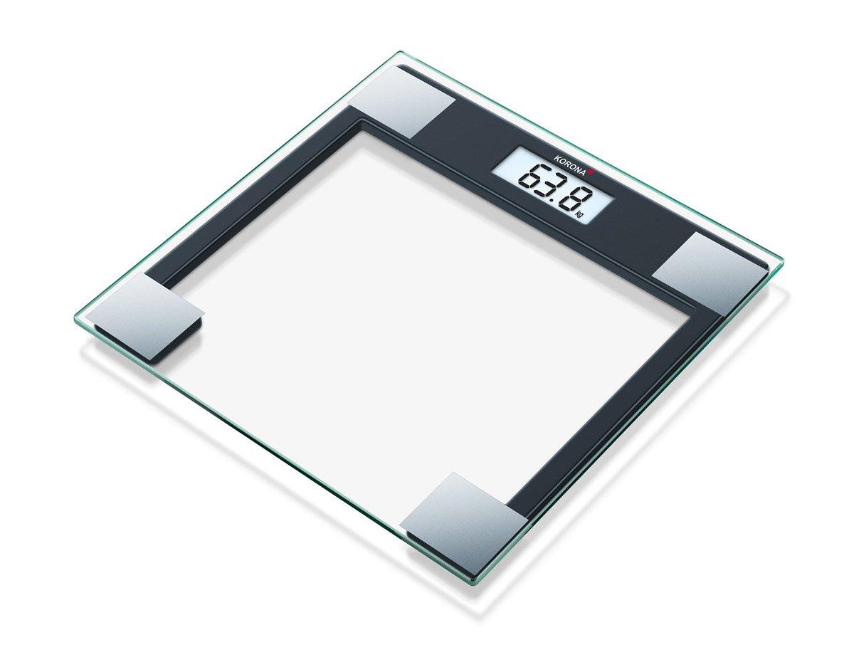 Korona Gabriela Báscula de baño de cristal, escala hasta 150 kg, intervalos en gramos 100, transparente y negro: Amazon.es: Salud y cuidado personal