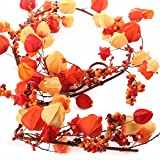 Factory Direct Craft Fall Colored Berry and Chinese Lantern Garland for Home and Seasonal Decor