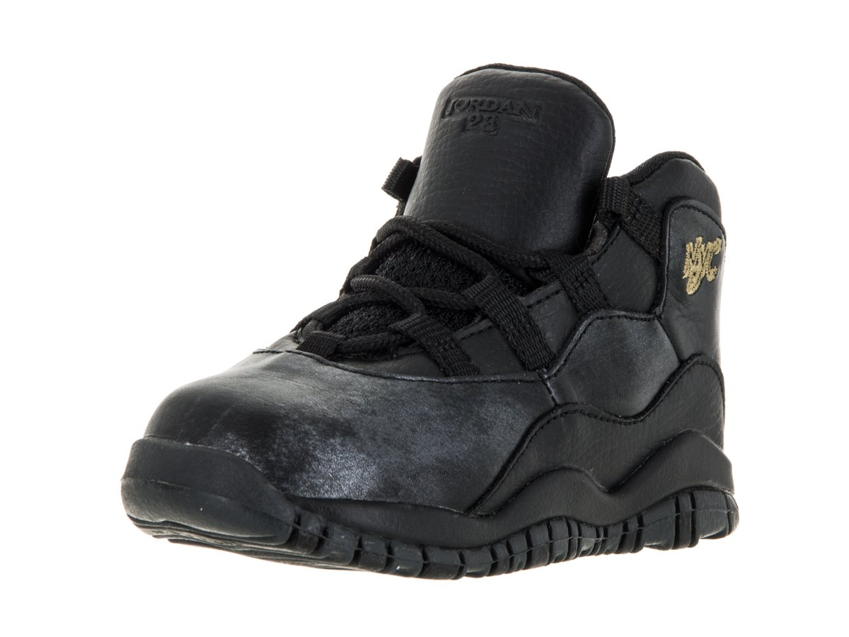 Nike Jordan Toddlers Jordan 10 Retro Bt Black/Black/Drk Grey/Mtllc Gld Basketball Shoe 5 Infants US
