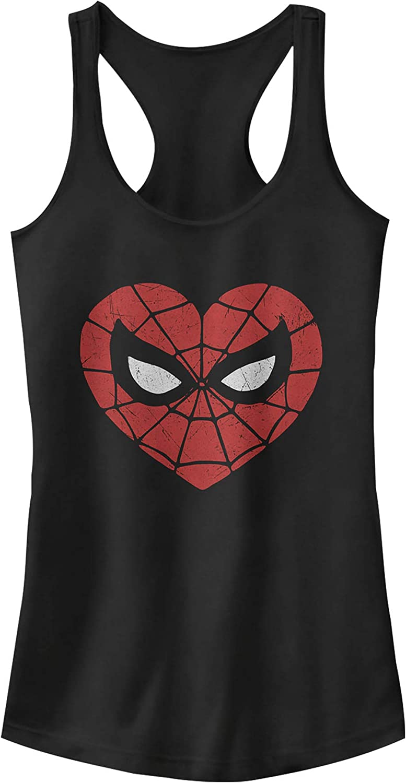 Marvel Juniors Valentines Day Spider-Man Heart Mask Racerback Tank Top