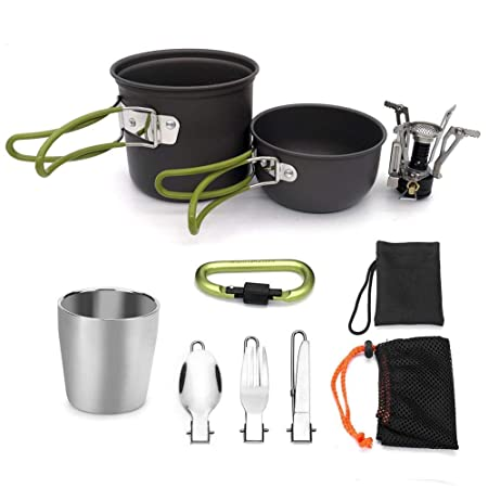 9f235dcb162 Haodene Camping Cookware Mess Kit - Portable Lightweight Outdoor Cookset Cooking  Pot Pan with Kettle Stove
