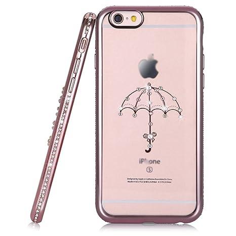 Slim Crystal Bling Diamante Carcasa de TPU paraguas para iPhone 6S Plus