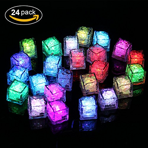 Ice Led Light - Aieve 24pcs Ice Led Cubes Multicolor Decorations Light Color Changing Led Flash Ice Drink Cup Sensor Led Glow Light for Halloween Champagne Party Wedding Club Bar (Halloween Drinks Made With Dry Ice)