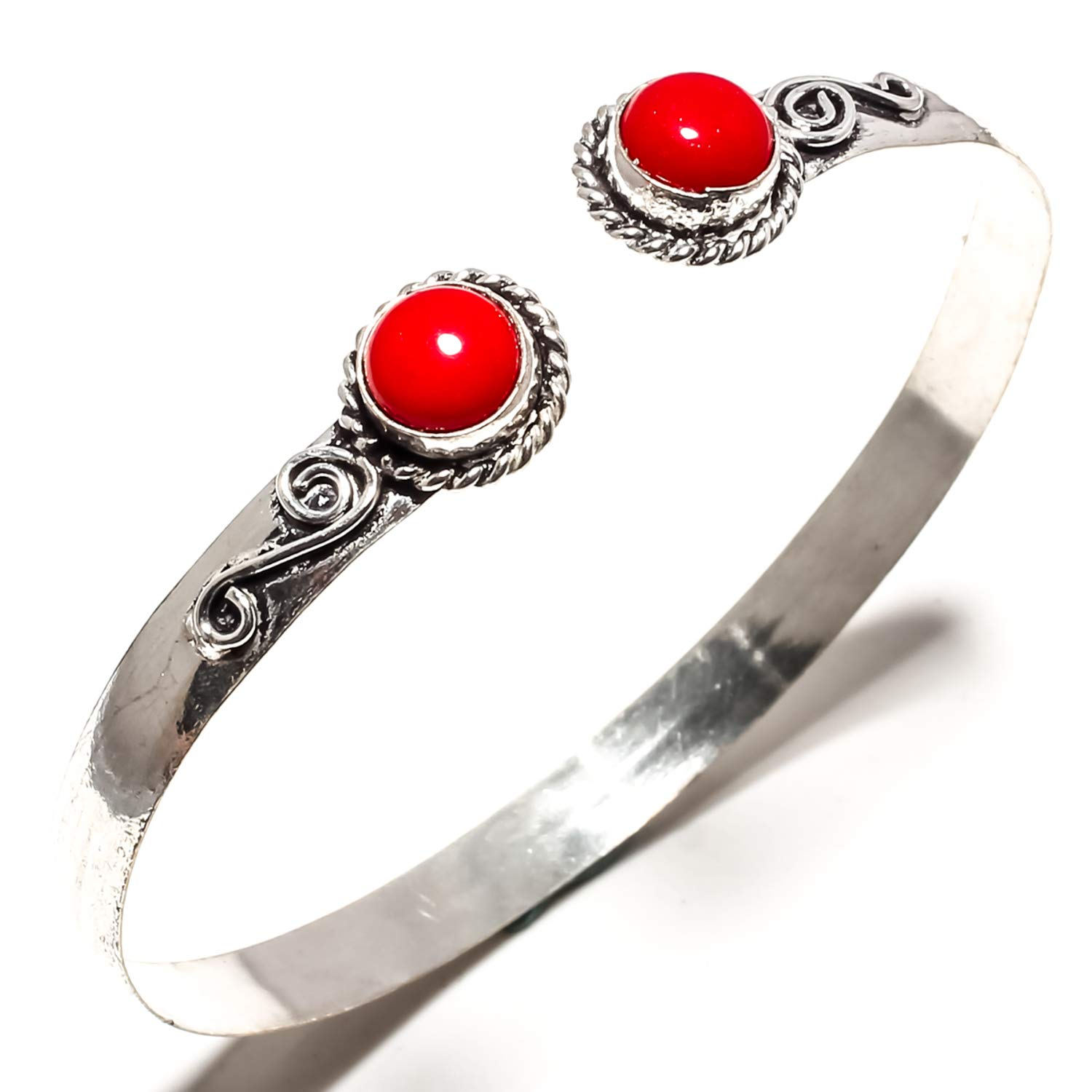 SF-1611 Adjustable Size Cuff Bracelet Stunning Red Coral Gemstone Bangle Kada Handmade 925 Sterling Silver Plated Jewelry