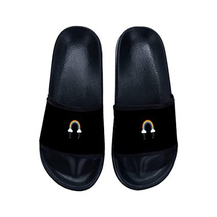 c158af452 Amazon.com  DREA Summer Rainbow Slippers Men Casual Sandals Massage Beach  Slippers Shoes Men s Sandals  Sports   Outdoors