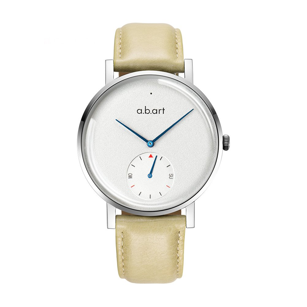 abart ONE41-101-24L Sapphire Crystal Window Subdial Smart Watches for Men (Ivory White (Crack Oily Calf)-Ivory White)