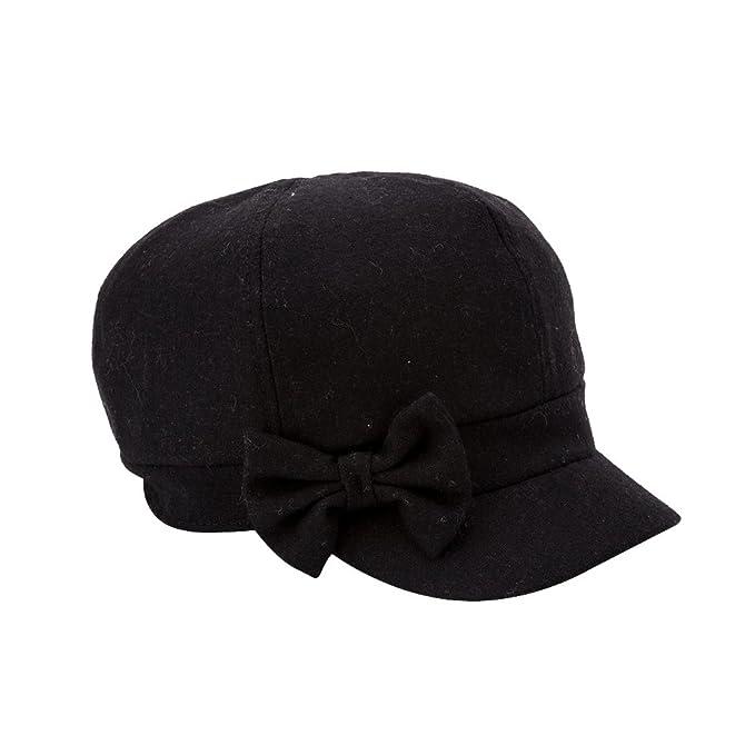 be29e3649aa03 Q Y YQ Women s Wool Newsboy Cap Beret Cabbie Hats Size M Black at ...