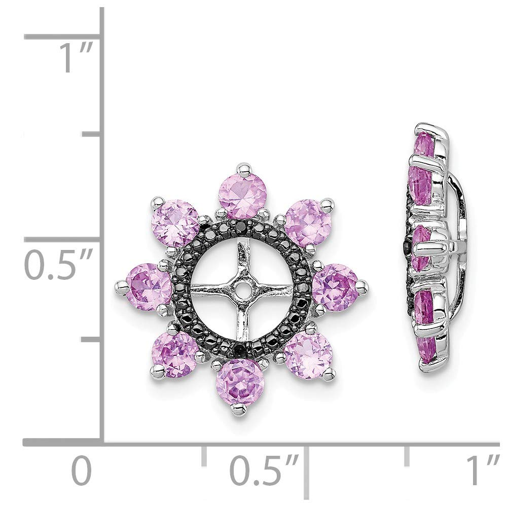 Mia Diamonds 925 Sterling Silver Created Pink Sapphire and Black Sapphire Earring Jacket 17mm x 17mm