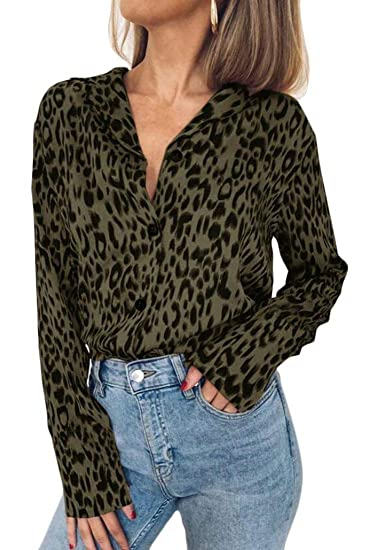 82c8d338 WSPLYSPJY Women Sexy Leopard Print Button Down Long Sleeve Chiffon Blouses  Shirts at Amazon Women's Clothing store: