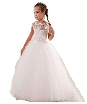 f1a2dccae03 VIPbridal White Ivory First Communion Dresses Cute Little Girls pageant  Dresses Tank Long Flower Girl Dress  Amazon.co.uk  Clothing