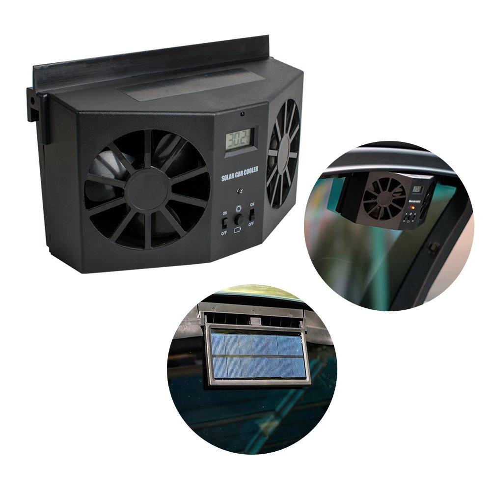 Pevor Solar Powered Auto Car Window Air Vent Ventilator Mini Air Conditioner Cool Fan Black