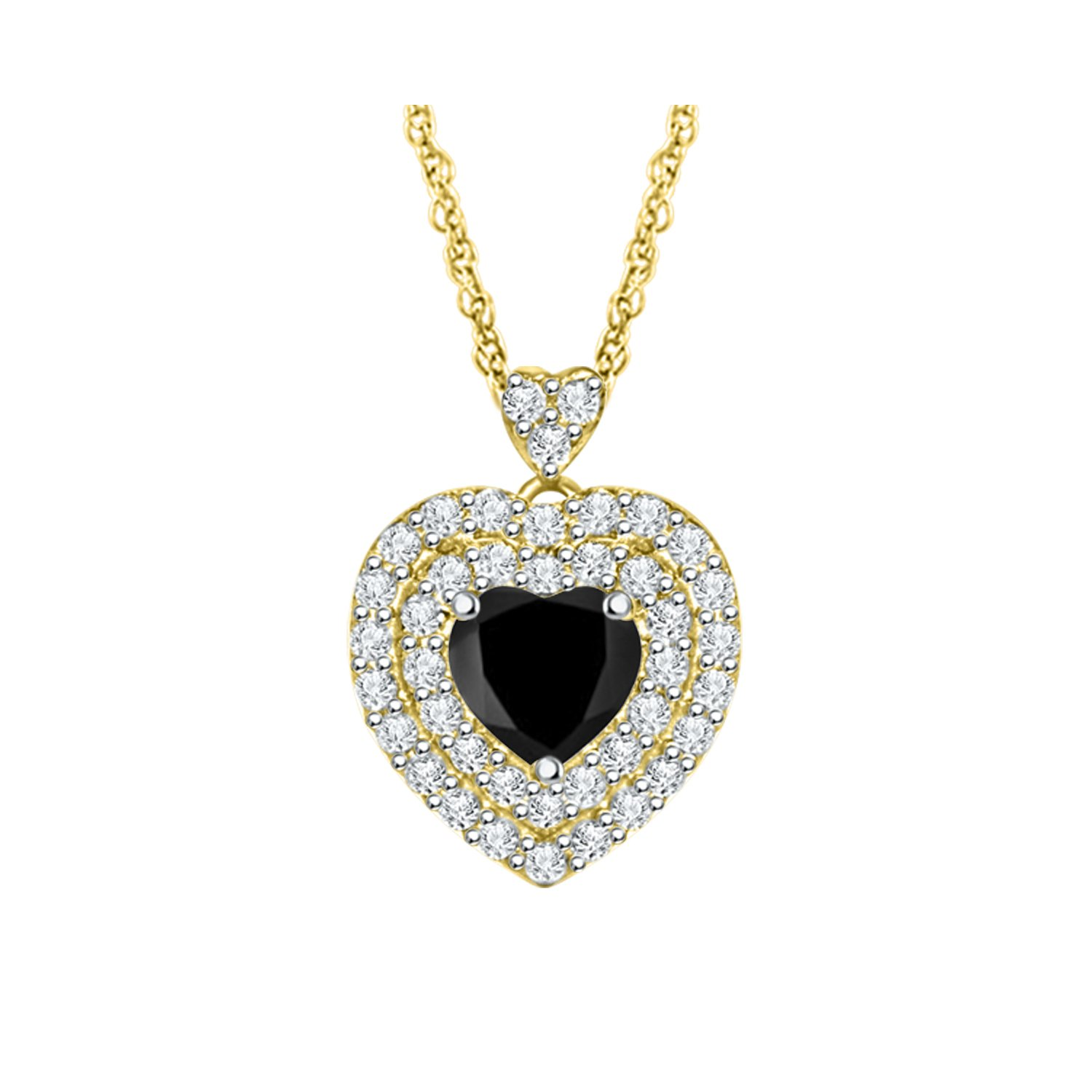 Diamond Scotch Valentines Day 14k Yellow Gold Over 1.27 Ct Double Halo Heart Pendant Necklace 18 inches Chain