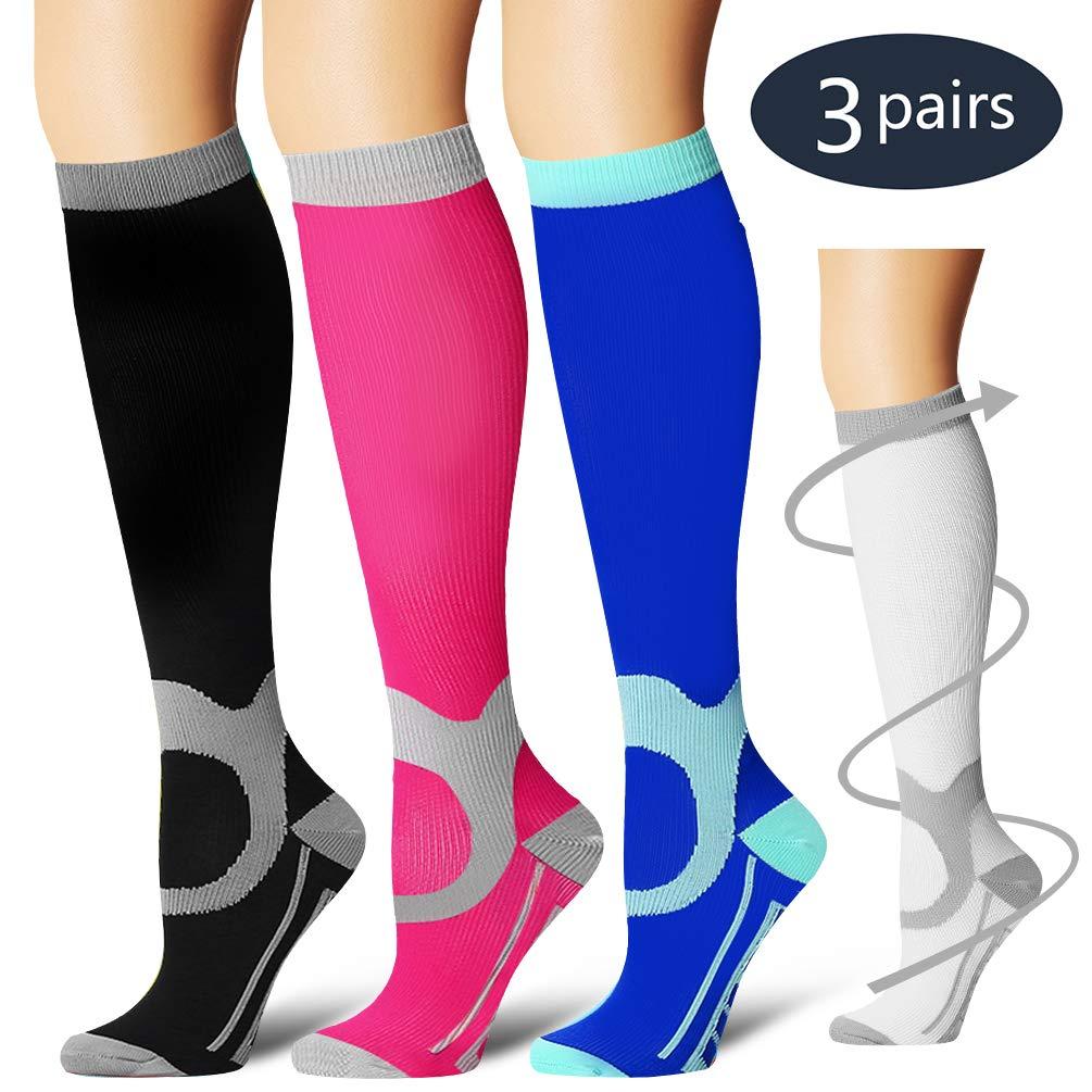 Laite Hebe Compression Socks,(3 Pairs) Compression Sock Women & Men - Best Running, Athletic Sports, Crossfit, Flight Travel(Multti-colors14-L/XL)