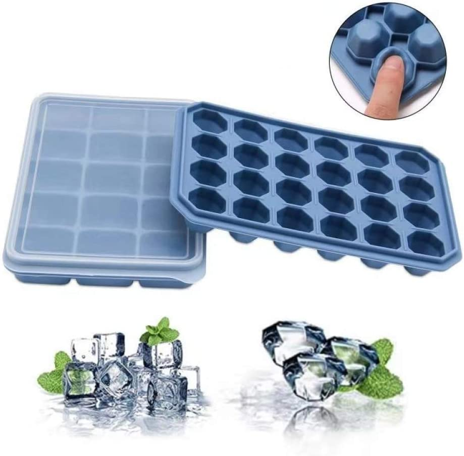 Ruili Life Ice Cube Trays Silicone with Lids 2 Pack,Easy-Release Ice Cube Molds,Stackable,BPA Free Mold Tray,Flexble Small Ice Trays for Chilled Drinks,Whiskey & Cocktails