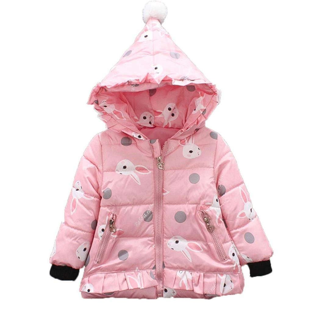 Baby Toddler Winter Cotton Outwear Thick Warm Rabbit Clothes Autumn Hooded Coat Girls Cloak Jacket (0-12 Months, Pink)