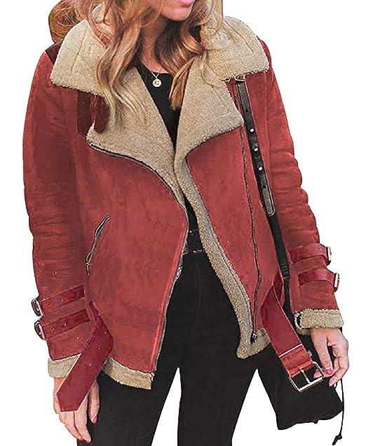 Giacca Moto Invernale Donna Retro Cappotto Reversibile Giubbotto Aviatore  Imbottito Finta Pelle di Pecora Caldo Giacche 6f1bfc1650a