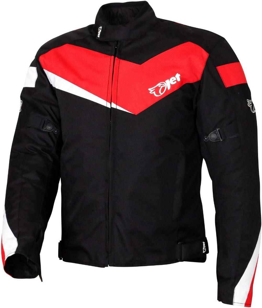 JET Chaqueta Moto Ciclomotor Hombre Textil con Protecciones Ligero Basic ECONOTECH (L (EU 50-52), Rojo)