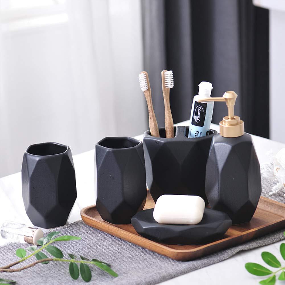 YOURNELO Modern Nordic Glazed Ceramic Bathroom Accessory Set of 5Pcs (ASetBlack)
