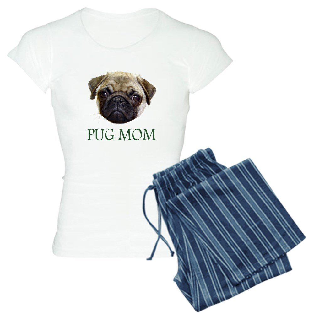 CafePress Pug Mom Tshirt - Womens Novelty Cotton Pajama Set, Comfortable PJ Sleepwear