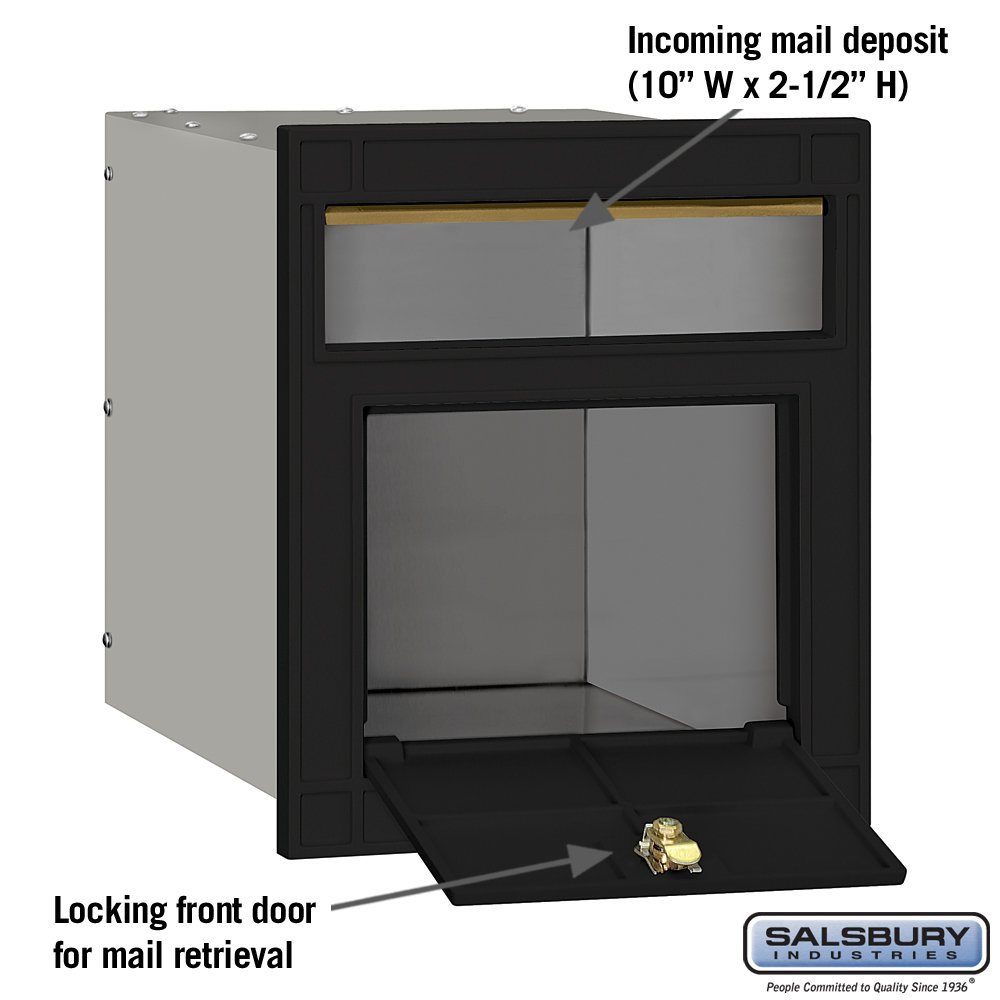Salsbury Industries 4145P-BLK Cast Aluminum Column Mailbox with Locking Plain Door Black