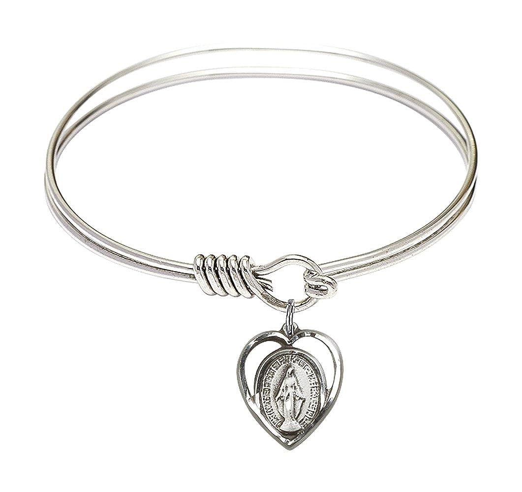 Miraculous Charm On A 6 1//4 Inch Round Eye Hook Bangle Bracelet