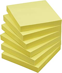 Sticky Notes 3x3 Self-Stick Notes Pads with 6 Bright Colors, Easy to Post for Office, Shool, Home, 6 Pads/Pack, 100 Sheets/Pad (Yellow)