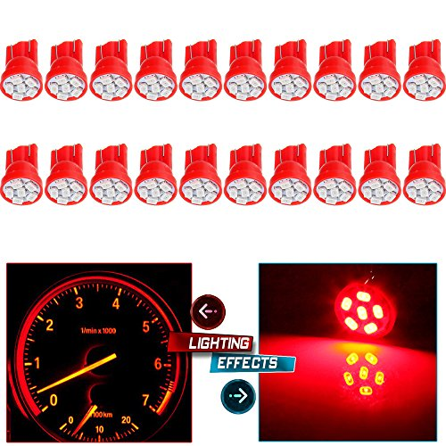 cciyu 194 Extremely Bright LED Bulbs 6-3020-SMD Dashboard Gauge Light Speedometer Odometer Tachometer LED light Wedge T10 168 2825 W5W Red Pack of 20 (Speedometer Dodge Ram)