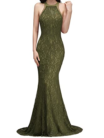 Promshow Sexy Long Evening Dresses Pretty Women Dress Lace 2017 Special Occasion Dresses size 2 Army