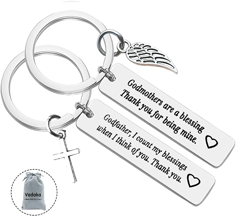 Godfather Keychain Godparent Gift Baptism Gift Christening Key Chain Godfathers are a Blessing God Father Established Personalized Thank You